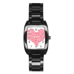Heart Stripes Symbol Striped Stainless Steel Barrel Watch