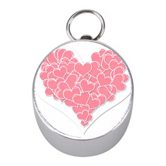 Heart Stripes Symbol Striped Mini Silver Compasses by Nexatart