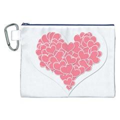 Heart Stripes Symbol Striped Canvas Cosmetic Bag (xxl) by Nexatart