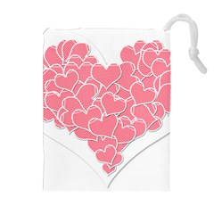 Heart Stripes Symbol Striped Drawstring Pouches (extra Large)