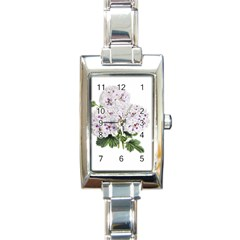 Flower Plant Blossom Bloom Vintage Rectangle Italian Charm Watch