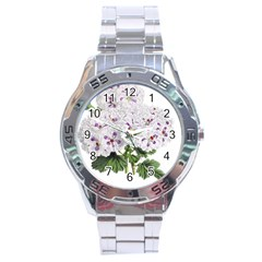 Flower Plant Blossom Bloom Vintage Stainless Steel Analogue Watch by Nexatart