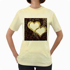Lover Romantic Couple Apart Women s Yellow T Shirt