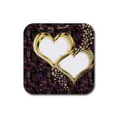 Lover Romantic Couple Apart Rubber Square Coaster (4 Pack)