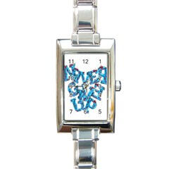 Sport Crossfit Fitness Gym Never Give Up Rectangle Italian Charm Watch