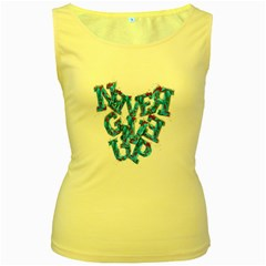 Sport Crossfit Fitness Gym Never Give Up Women s Yellow Tank Top