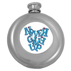 Sport Crossfit Fitness Gym Never Give Up Round Hip Flask (5 Oz) by Nexatart