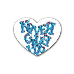 Sport Crossfit Fitness Gym Never Give Up Rubber Coaster (heart)  by Nexatart