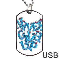 Sport Crossfit Fitness Gym Never Give Up Dog Tag Usb Flash (two Sides) by Nexatart