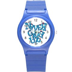 Sport Crossfit Fitness Gym Never Give Up Round Plastic Sport Watch (s) by Nexatart