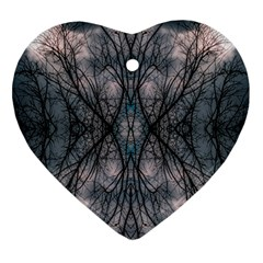 Storm Nature Clouds Landscape Tree Heart Ornament (two Sides) by Nexatart