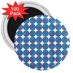 Geometric Dots Pattern Rainbow 3  Magnets (100 Pack) by Nexatart