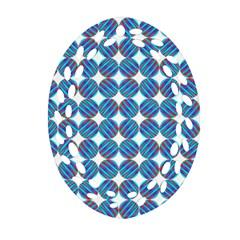Geometric Dots Pattern Rainbow Oval Filigree Ornament (two Sides) by Nexatart