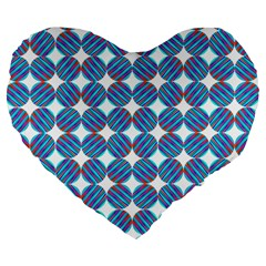 Geometric Dots Pattern Rainbow Large 19  Premium Flano Heart Shape Cushions by Nexatart