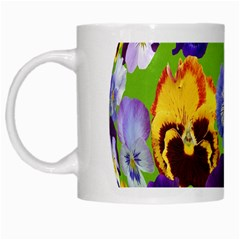 Spring Pansy Blossom Bloom Plant White Mugs