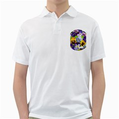 Spring Pansy Blossom Bloom Plant Golf Shirts by Nexatart