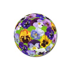 Spring Pansy Blossom Bloom Plant Magnet 3  (round)
