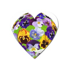 Spring Pansy Blossom Bloom Plant Heart Magnet by Nexatart