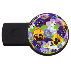 Spring Pansy Blossom Bloom Plant Usb Flash Drive Round (2 Gb) by Nexatart