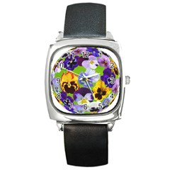 Spring Pansy Blossom Bloom Plant Square Metal Watch