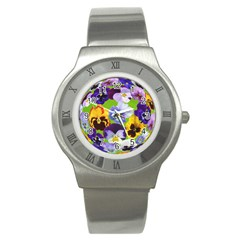 Spring Pansy Blossom Bloom Plant Stainless Steel Watch by Nexatart