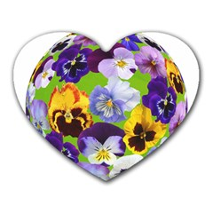 Spring Pansy Blossom Bloom Plant Heart Mousepads by Nexatart