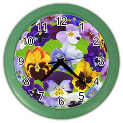 Spring Pansy Blossom Bloom Plant Color Wall Clocks