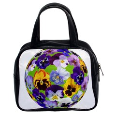 Spring Pansy Blossom Bloom Plant Classic Handbags (2 Sides) by Nexatart
