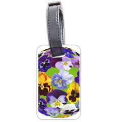 Spring Pansy Blossom Bloom Plant Luggage Tags (one Side)  by Nexatart
