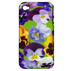 Spring Pansy Blossom Bloom Plant Apple Iphone 4/4s Hardshell Case (pc+silicone) by Nexatart