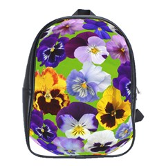 Spring Pansy Blossom Bloom Plant School Bags (xl)  by Nexatart