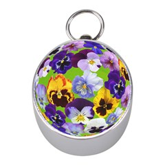 Spring Pansy Blossom Bloom Plant Mini Silver Compasses by Nexatart