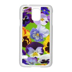 Spring Pansy Blossom Bloom Plant Samsung Galaxy S5 Case (white) by Nexatart