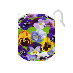 Spring Pansy Blossom Bloom Plant Drawstring Pouches (medium)