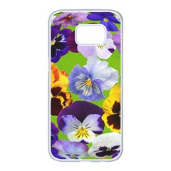 Spring Pansy Blossom Bloom Plant Samsung Galaxy S7 Edge White Seamless Case by Nexatart