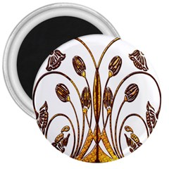 Scroll Gold Floral Design 3  Magnets by Nexatart