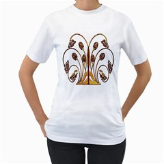 Scroll Gold Floral Design Women s T Shirt (white) (two Sided)