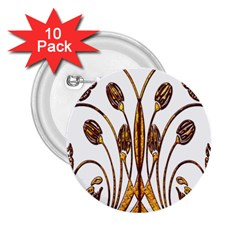 Scroll Gold Floral Design 2 25  Buttons (10 Pack)