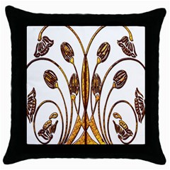 Scroll Gold Floral Design Throw Pillow Case (black) by Nexatart