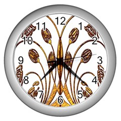 Scroll Gold Floral Design Wall Clocks (silver)  by Nexatart