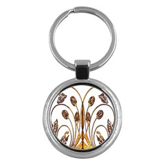 Scroll Gold Floral Design Key Chains (round)  by Nexatart