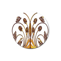 Scroll Gold Floral Design Magnet 3  (round) by Nexatart