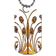 Scroll Gold Floral Design Dog Tag (two Sides) by Nexatart