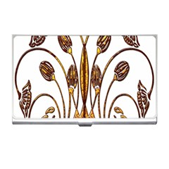 Scroll Gold Floral Design Business Card Holders by Nexatart
