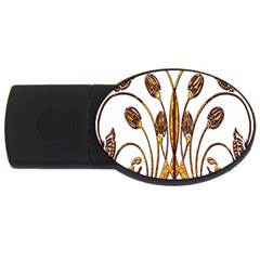 Scroll Gold Floral Design Usb Flash Drive Oval (2 Gb)