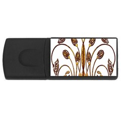 Scroll Gold Floral Design Usb Flash Drive Rectangular (4 Gb)