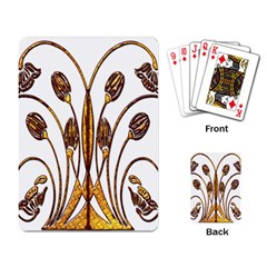 Scroll Gold Floral Design Playing Card by Nexatart