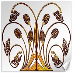 Scroll Gold Floral Design Canvas 16  X 16   by Nexatart