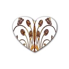 Scroll Gold Floral Design Rubber Coaster (heart)  by Nexatart