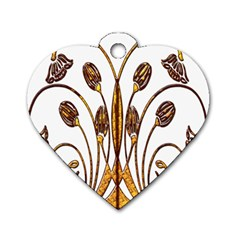 Scroll Gold Floral Design Dog Tag Heart (one Side) by Nexatart